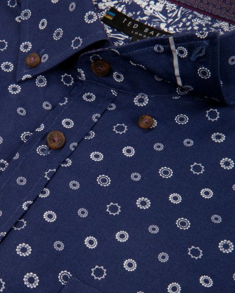 Cog print shirt - Navy | Shirts | Ted Baker