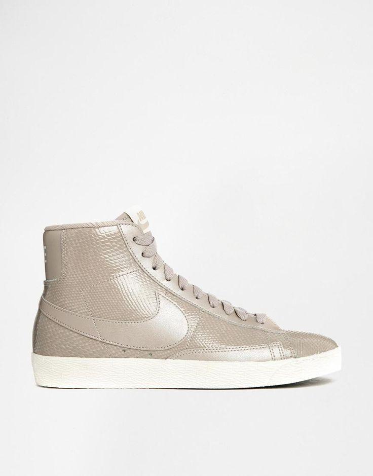 Nike | Nike Blazer Mid Premium Leather Beige Trainers at ASOS