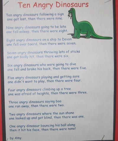 Ten Angry Dinosaurs Poem