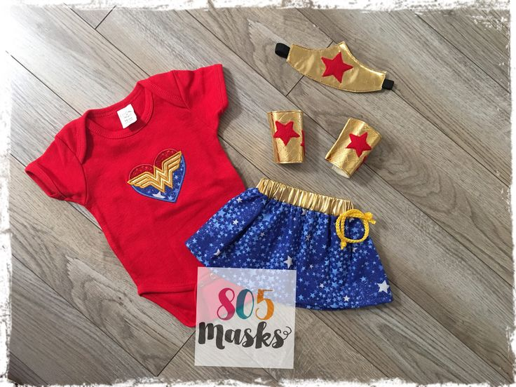 Baby Infant Wonder Woman Costume,  Wonder Woman Headband, Wonder Woman Arm Cuffs, Wonder Woman Onesie, Wonder Woman Skirt, Halloween Costume by 805Masks on Etsy