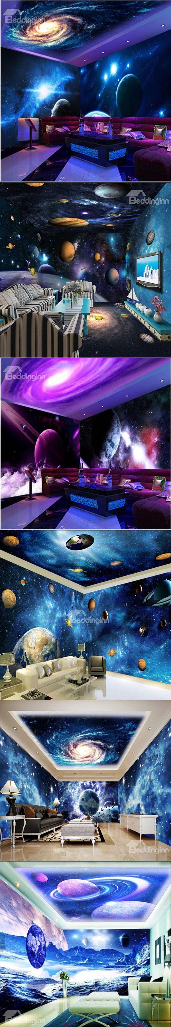 Make a magic galaxy space by wall murals!