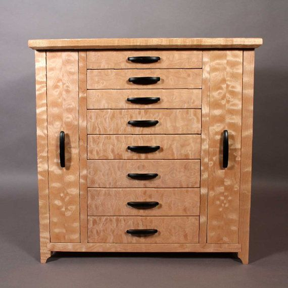 quilted maple jewelry cabinet by endgrainguy on Etsy, I wish I had this skill!