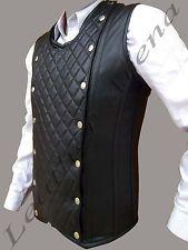 Men's genuíno couro preto gótico espartilho Colete Laço Traseiro Frontal Acolchoado Flap