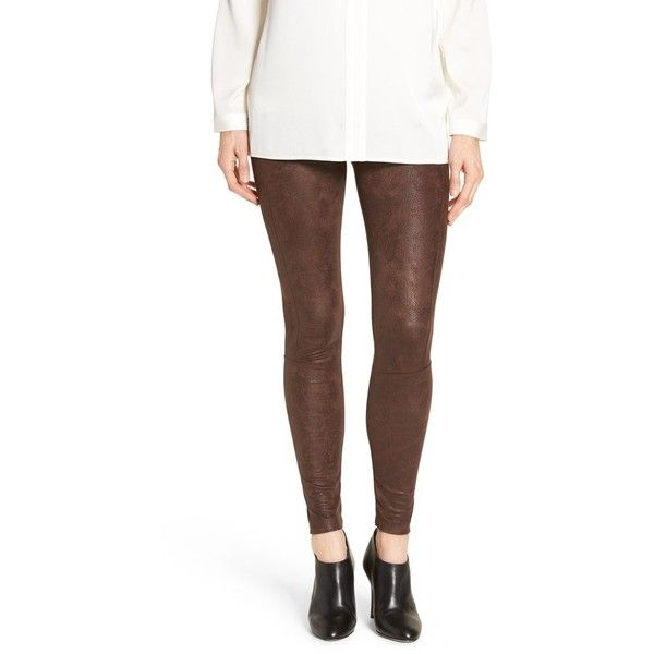 Women's Lysse Buffed Faux Suede Leggings ($98) ❤ liked on Polyvore featuring pants, leggings, bourbon, brown pants, tummy control pants, wide-waistband leggings, mesh-panel leggings and brown trousers