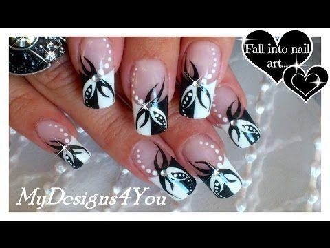 Red and Black Floral Nails | Abstract Nail Art ♥ Diseño Uñas Francés, Flor …
