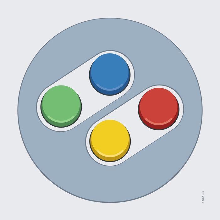 Super #Nintendo - Buttons Art Print  #videojuegos #videogames #vintage #clasico #classic