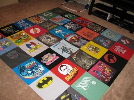 light quilt made out of old t-shirts! Great thing to do with all those club t-shirts they're never going to wear...