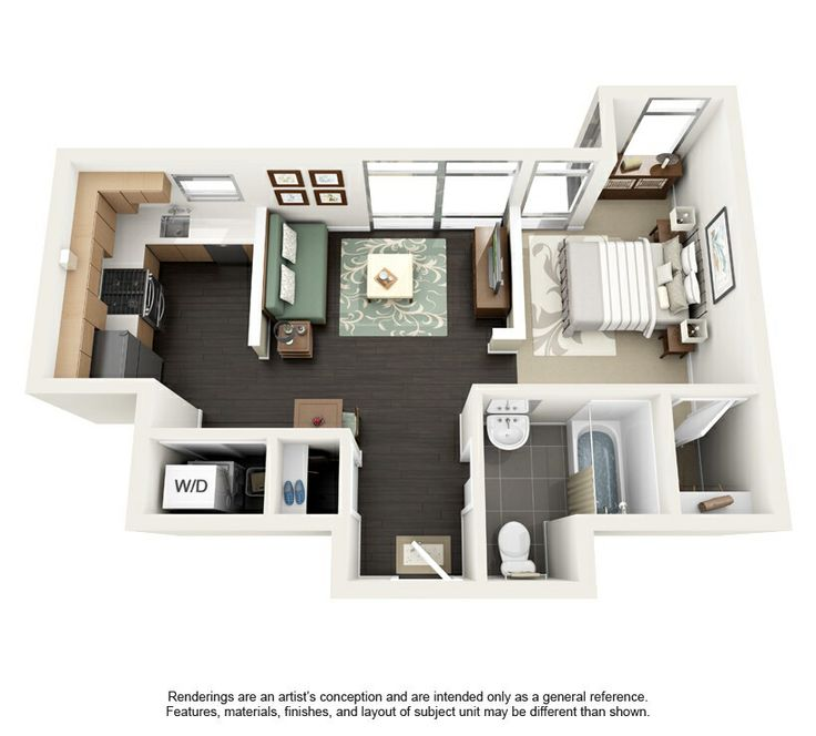 Find Efficiency Apartments: Floor Plan 500 Sq Ft