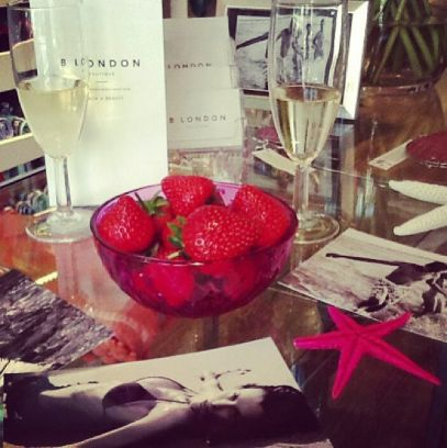 Strawberries and champagne in the shop http://instagram.com/p/bgFf4rjOnJ/