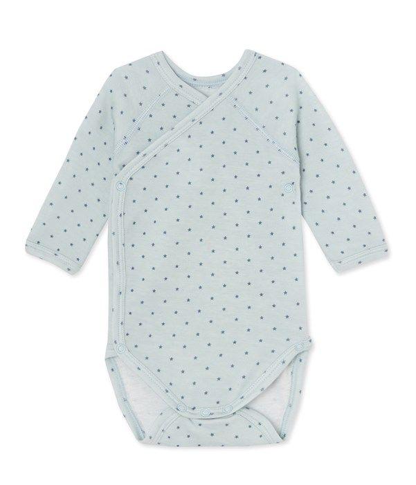 Body naissance bébé garçon manches longues laine et coton Petit Bateau bleu, gris