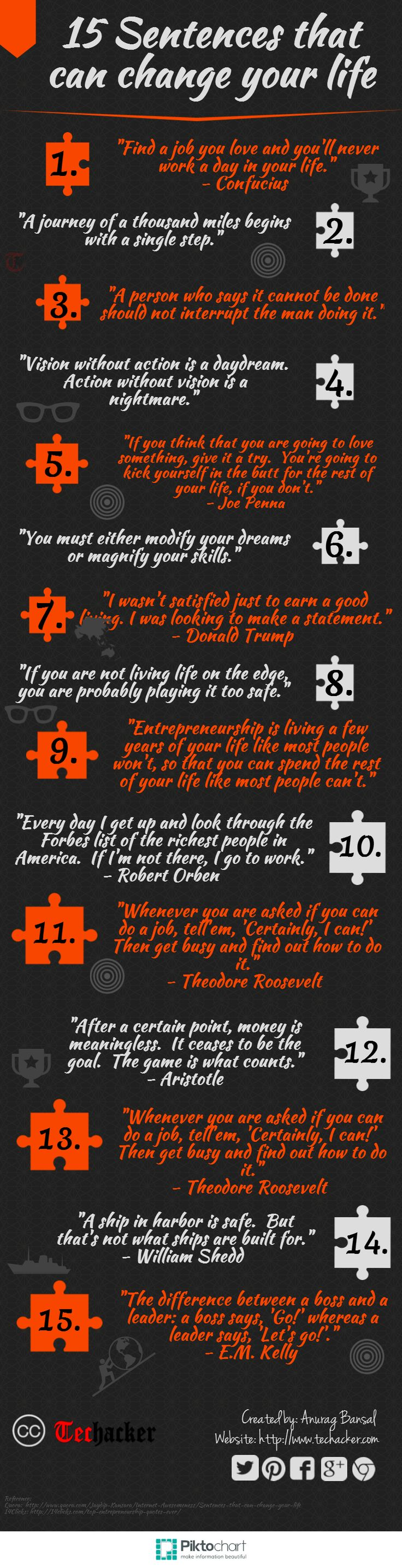 15 Sentences that can change your life [Infographics] - Techacker Shame 13 & 15 are the same