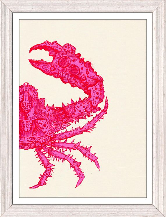 Wall decor poster -Fuchsia crab sea life print -Marine  sea life illustration A4 print-  Modern Crab print from Etsy