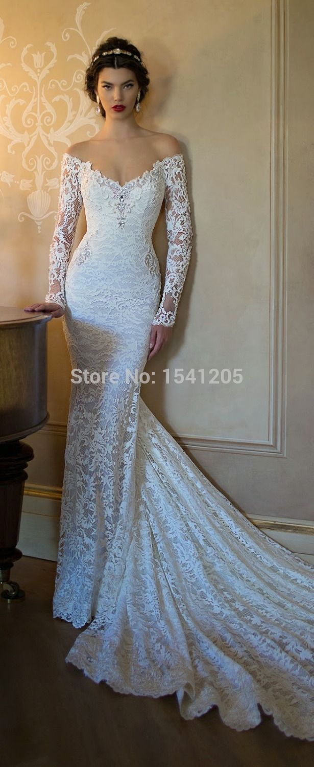 Berta 2015 Wedding Dress Off-the-shoulder Illusion Long Sleeve Bridal Gown Mermaid Backless Pearl Court Train