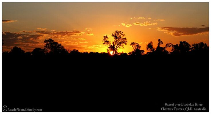 Sunset over Burdekin River, 22km East of Charters Towers.