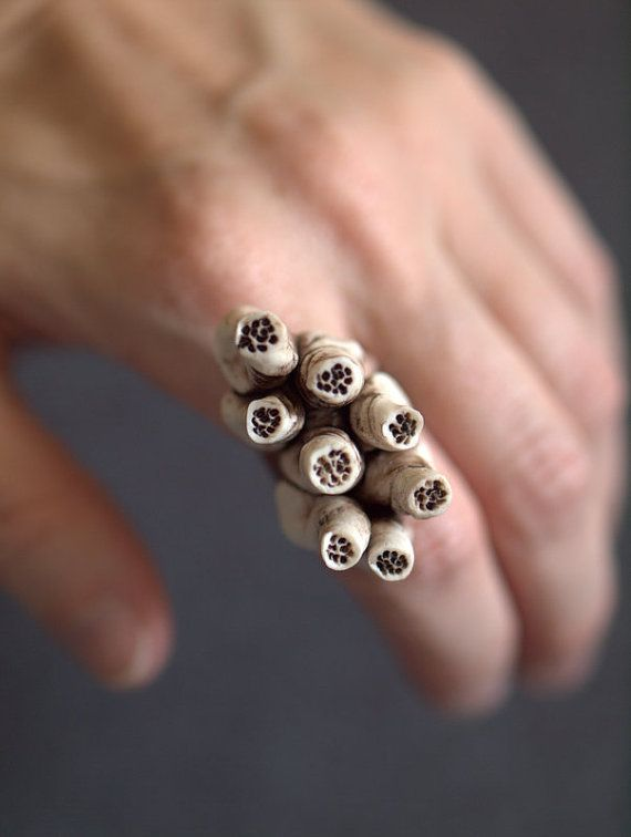 Barnacles+porcelain+ring++Deep+brown+and+ivory++by+peifferStudios,+$34.00