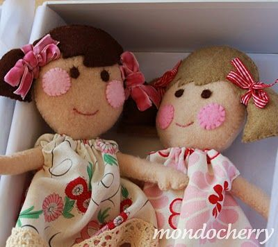rosy cheecked wool felt dolls