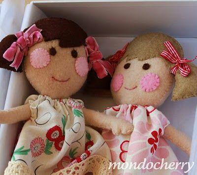 rosy cheecked wool felt dollsWool Felt, Sweets Cheek, Felt Dolls, Small Bites, Rosie Cheeck, Rosie Cheek, Cheek Dolls, Diy Dolls, Cheeck Wool