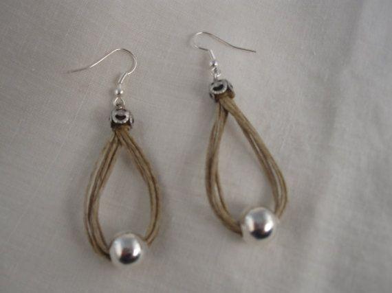 Earrings linen thread loop fantasy metalic pearl by espurna88