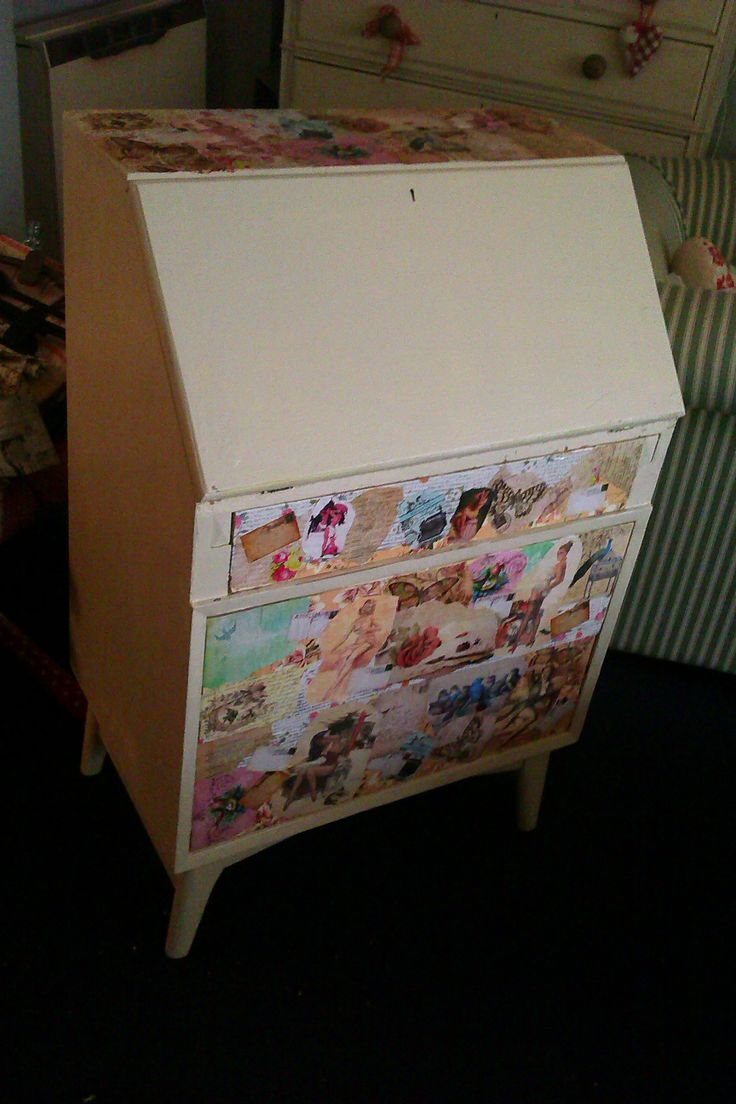 Decoupage vintage writing bureau