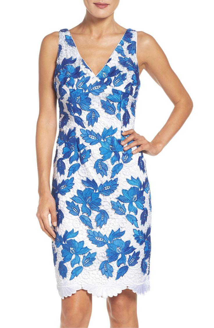 Main Image - Adrianna Papell Two-Tone Guipure Lace Sheath Dress