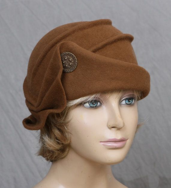 Audrey, Velour Felt Cloche with draped pleated swirls, Bronze colored millinery hat