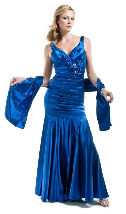CLEARANCE - Royal Blue Evening Gown Mermaid Satin V Neck