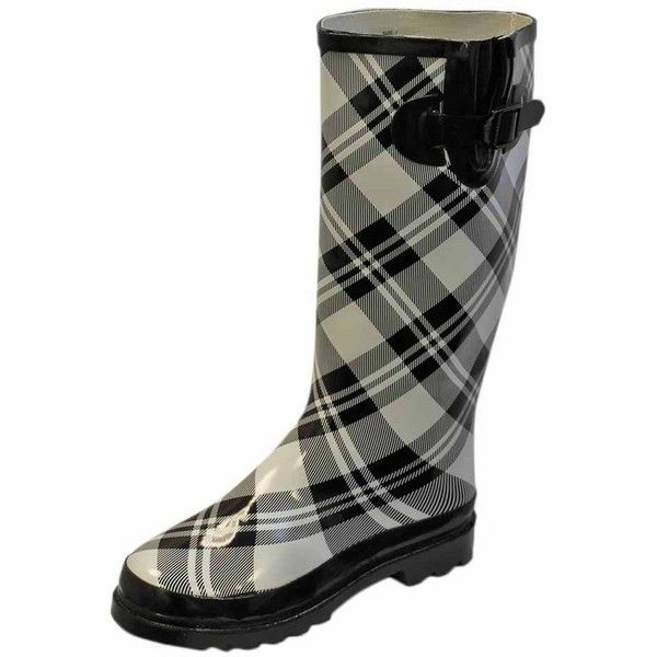 White & Black Plaid Ladies Rubber Rain Boots (52 CAD) ❤ liked on Polyvore featuring shoes, boots, plaid boots, rubber shoes, rain boots, round cap and wellies boots