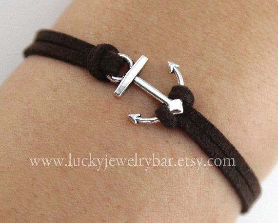 Anchor-antique silver anchor bracelet,  leather bracelet, sailing bracelet - SALE