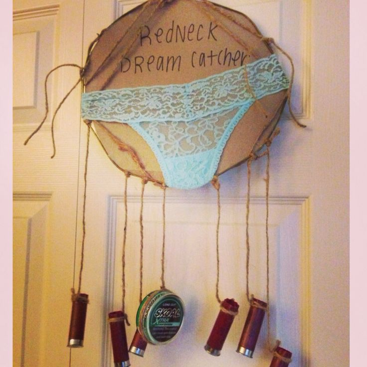 Redneck dream catcher made from shotgun shells, underwear & dip.