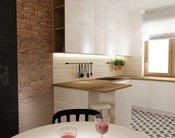 Aranżacje wnętrz - Jadalnia: Dom Brwinów 200 m2 - Mała otwarta jadalnia w kuchni, styl skandynawski - Grafika i Projekt architektura wnętrz. Przeglądaj, dodawaj i zapisuj najlepsze zdjęcia, pomysły i inspiracje designerskie. W bazie mamy już prawie milion fotografii!