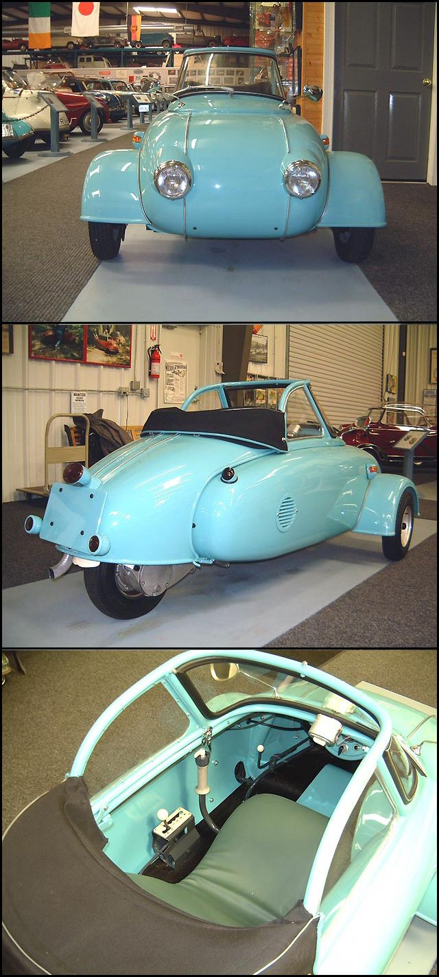 1957 Jurisch Motoplan. Carl Jurisch was a talented engineer, who built his own motorcycle from scratch at age 24,He designed and built his little car using as a base the body of a Steib S250 motorcycle sidecar, turned back to front, split down the middle and widened. The windshield and front suspension is Messerschmitt, and the drive unit Heinkel Kabine 150 (175cc) The 8-inch rear wheel and shorter chaincase came from the Tourist 102A-1. scooter .Canopy, tail ,seat pivot upwards for access.