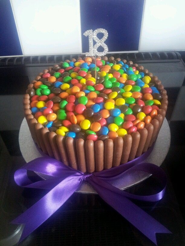 Chocolate Fingers and M&Ms Cake :)