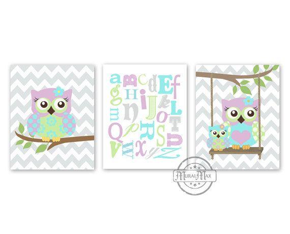 Owl Decor ABC NURSERY Print   Nursery decor   Owl by MuralMAX, $45.00