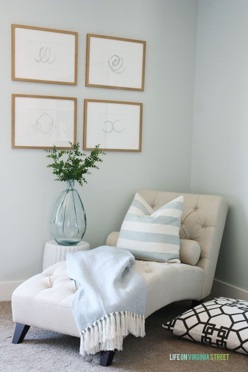 Craft room makeover with Benjamin Moore Healing Aloe walls, neutral furniture, crystal flushmount chandelier, DIY inspiration board & DIY designer pillows.