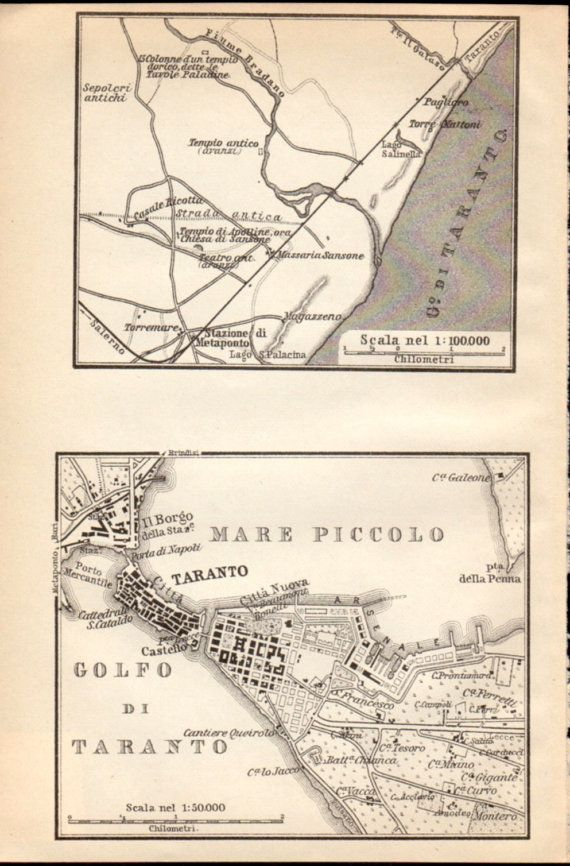 1908 Taranto & Environs Italy Antique Map Vintage by Craftissimo, €12.95