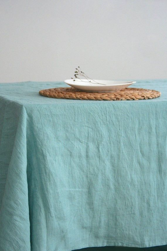 Stone Washed Linen. Natural Tablecloth. Blue Tablecloth. Handmade Linen  Tablecloth. Softened Linen