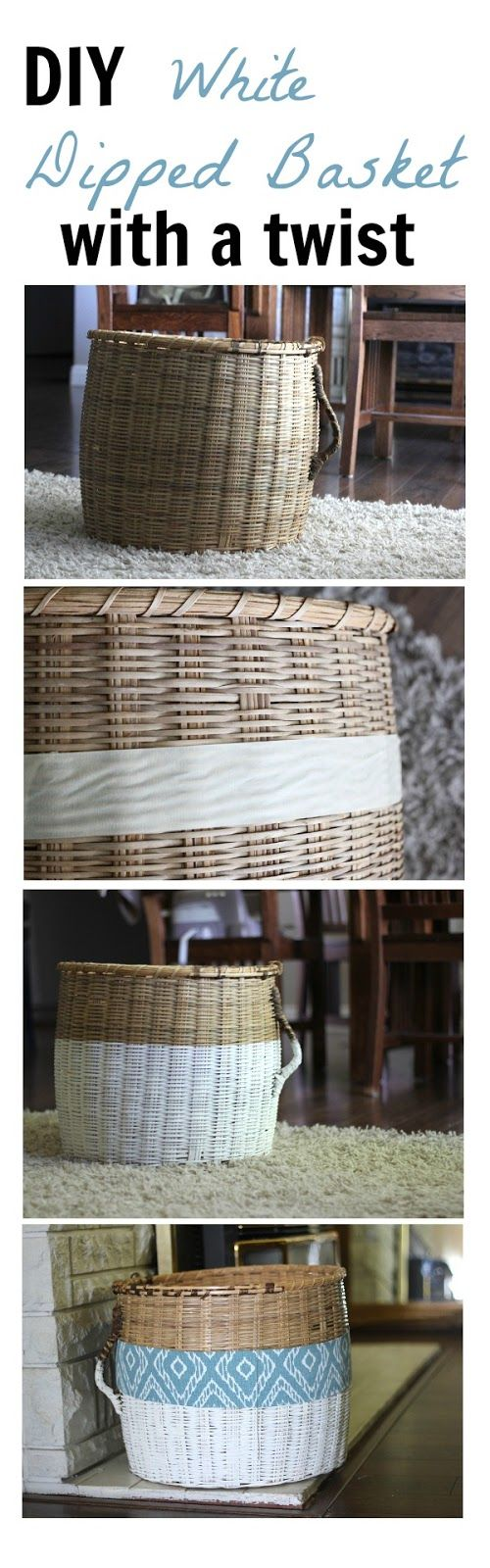 This white dipped basket has been a great addition for blanket storage in our living room.  I added a fun accent piece that is not only easy to make but can be changed throughout the year for different seasons or holidays!!