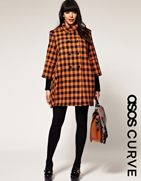 asos w. naomi shimada: Black Coats, Ovoid Coats, Autumn Coats, Asos Curves, Orange Check, Size Fashion, Curves Ovoid, Curves Orange, Curvy Fashion