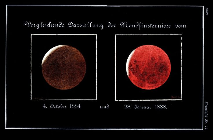 """A chromolithograph from the German astronomy magazine """"Sirius"""" compares the dark and featureless lunar disk during the eclipse a year after the eruption of Krakatoa (left) with a bright eclipse four years later, after the volcanic aerosols had settled out of the stratosphere (right). Mona Evans, """"Blood Moons and Lunar Tetrads"""" http://www.bellaonline.com/articles/art301030.asp"""