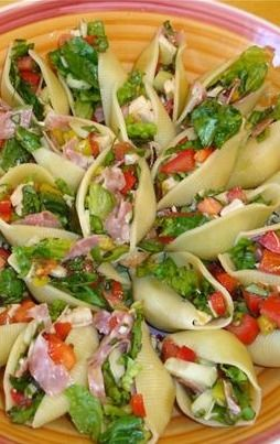Italian Chopped Salad in Shells ~ incredible appetizer