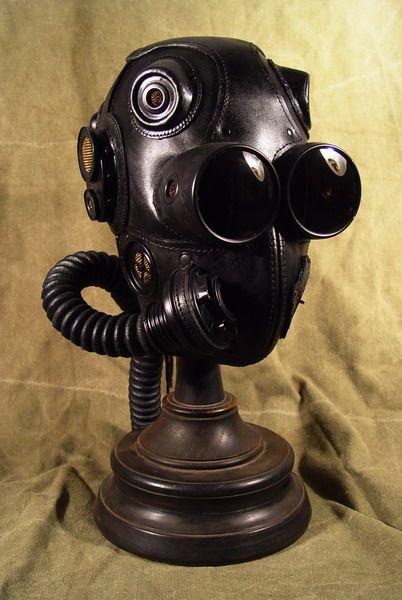 Black Leather Steampunk Gas Mask