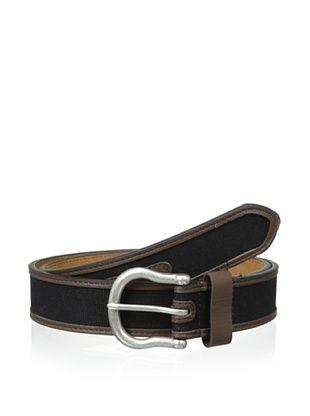 63% OFF Ike Behar Men's Leather & Cotton Belt (Black)