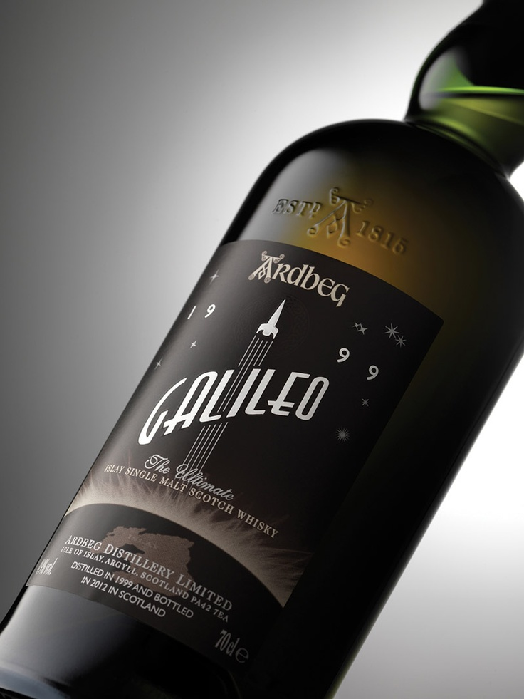 Ardbeg Galileo - a special release of a 12 year old single malt whiskey, rockets to market with beautiful packaging, label and an interesting video