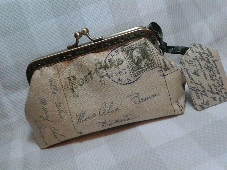 Monedero tela de cartas antiguas y boquilla metálica
