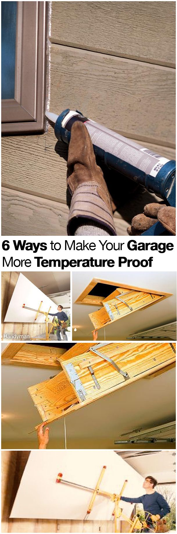 6 Ways to temperature proof your garage. Some great tips to help keep your garage workshop comfortable and functioning more of the year. #workshop #garage #tips