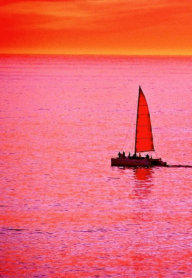 Sherbet Sunset Sail Featuring Orange And Hot Pink Photography By Michael Durst