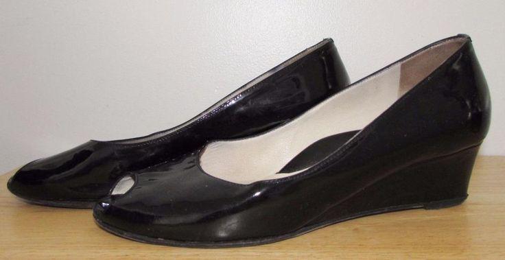 Taryn Rose Open Toe Ballet Wedge Black Made in Italy sz 8.5 US - 38 Euro #TarynRose #OpenToe #Casual