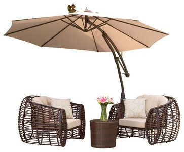 Key West Outdoor Cantilever Patio Umbrella Canopy, Tan - contemporary - Outdoor Umbrellas - Great Deal Furniture