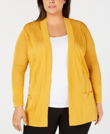 Anne Klein Plus Size Open-Front Cardigan - Nantucket 4
