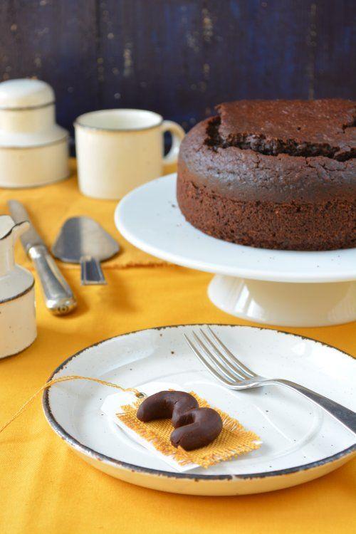 Chocolate hazelnut cake with ricotta, served with tonkabean chocolate pudding and yogurt
